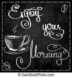 gozar, su, mañana, y, café