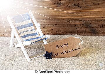 gozar, verano, texto, soleado, etiqueta, fin de semana