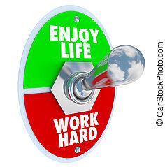 gozar, vida, trabajo, duro, interruptor, palanca, balance,...
