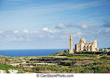 gozo island landscape in malta with cathedral of ta pinu