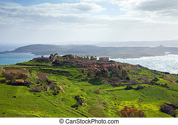 Gozo landscape and view of Comino (Maltese islands)