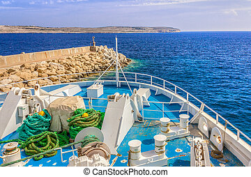 Gozo - On the ferry to the island of Gozo, Malta