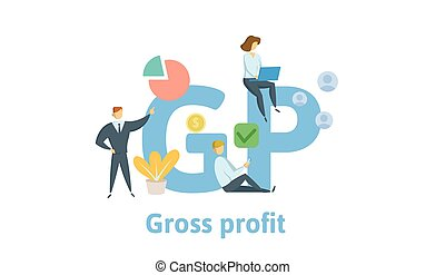 GP, Gross Profit. Concept with keywords, letters and icons....