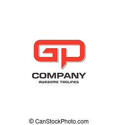GP letter logo design vector illustration template, G letter...