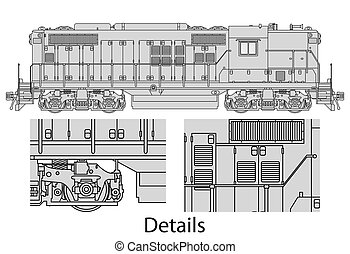 GP9-558 locomotive - High detailed vector illustration of ...