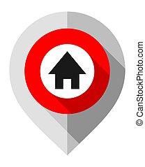 gps, épingle, symbole, maison, carte, plié, gris, indicateur, papier