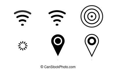gps, épingle, wi-fi, ondes radio, animé, icône