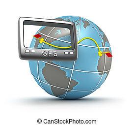 gps, 世界, 追蹤者, 3d, 概念