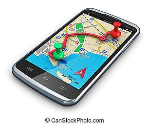 gps, 航行, 在, smartphone
