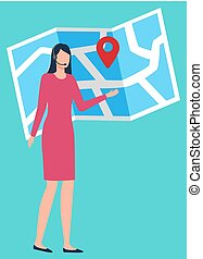 gps, 追跡, 技術, 出荷, 地図, ベクトル
