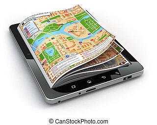 gps, 항법, concept., 가이드, 지도, 통하고 있는, 그만큼, 알약 pc, screen.