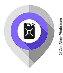 gps, alfiler, símbolo, mapa, doblado, gris, jerrycan, indicador, papel