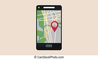 GPS app from smartphone HD animation - GPS app from...