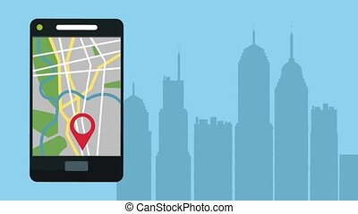 GPS app from smartphone HD animation