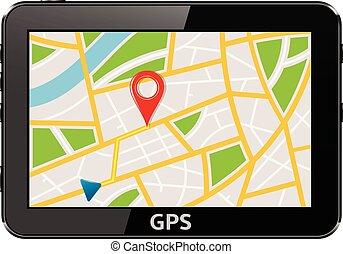 gps, appareil, navigation, système