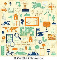GPS Application - illustration of navigation icon set for...