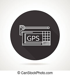 GPS black round vector icon