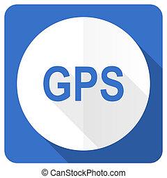 gps blue flat icon
