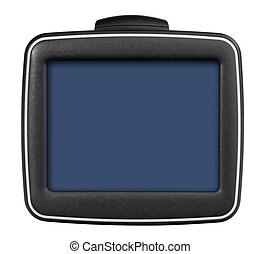 GPS car navigation with handle. Black electronic map device.