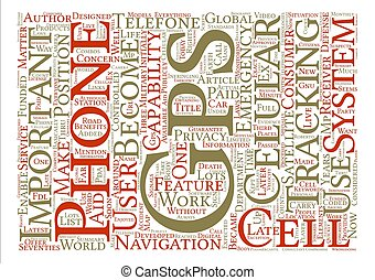 GPS Cell Phone Word Cloud Concept Text Background