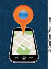 Geo location navigator in mobile application. Vector illustration layered for easy manipulation and custom coloring.