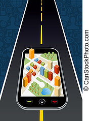 GPS city map - Geo positional system navigator device with...
