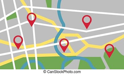 GPS city map locations HD animation - City map GPS...