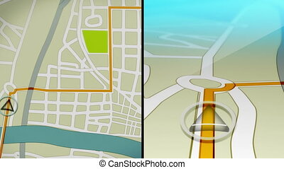 Side by side coordinated animations showing a generic GPS demo from two different perspectives.