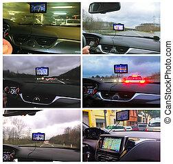 gps, dispositivo, sistema, o, posicionar global, coche, navegación
