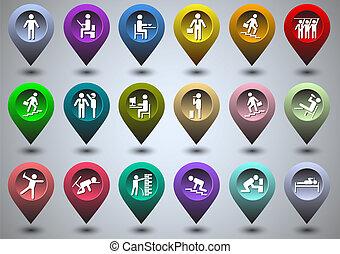 gps, forma, vita, simbolico, colorito, icone