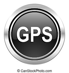 gps icon, black chrome button