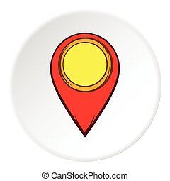 GPS icon, cartoon style