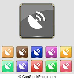 GPS icon. Flat modern Set colourful buttons. Vector