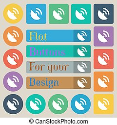 GPS icon. Flat modern. Set of twenty colored flat, round, square and rectangular buttons. Vector