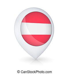GPS icon with flag of Austria.
