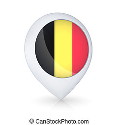 GPS icon with flag of Belgian.