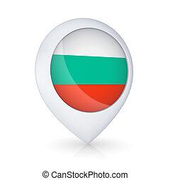 GPS icon with flag of Bulgaria.