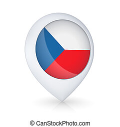 GPS icon with flag of Czech Republic.