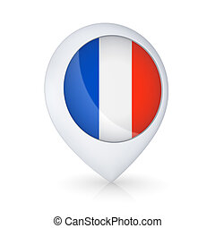 GPS icon with flag of France.