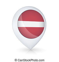 Gps icon with flag of Latvia.
