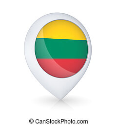 GPS icon with flag of Lithuania.