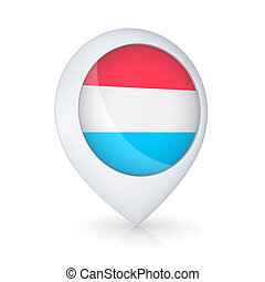 GPS icon with flag of Luxembourg.