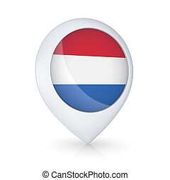 GPS icon with flag of Netherlands.