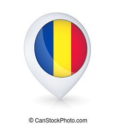 GPS icon with flag of Romania.