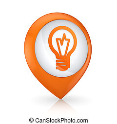 GPS icon with symbol of bulb.Isolated on white.