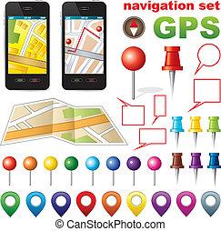 gps., ikonok, navigáció, állhatatos