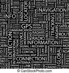 GPS. Seamless pattern. Word cloud illustration.