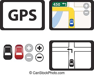 gps, jogo, objeto, isolado, ícones