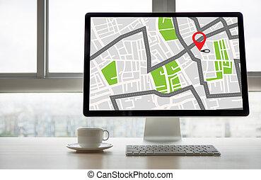 gps, landkarte, zu, strecke, bestimmungsort, vernetzung,...