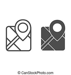 Gps line and glyph icon. Map with pin vector illustration isolated on white. Marker locate outline style design, designed for web and app. Eps 10.